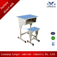 Single adjustble single people metal student school desk and stool set