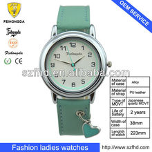 38mm lady's thin leather strap watch with japan movement 3AT for promotion gift