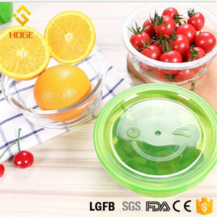 High Borosilicate Glass Mixing Bowl Food Fruit Storage Containers Safe Microwavable BPA-Free Spill Proof Airtight Lids 2Pack