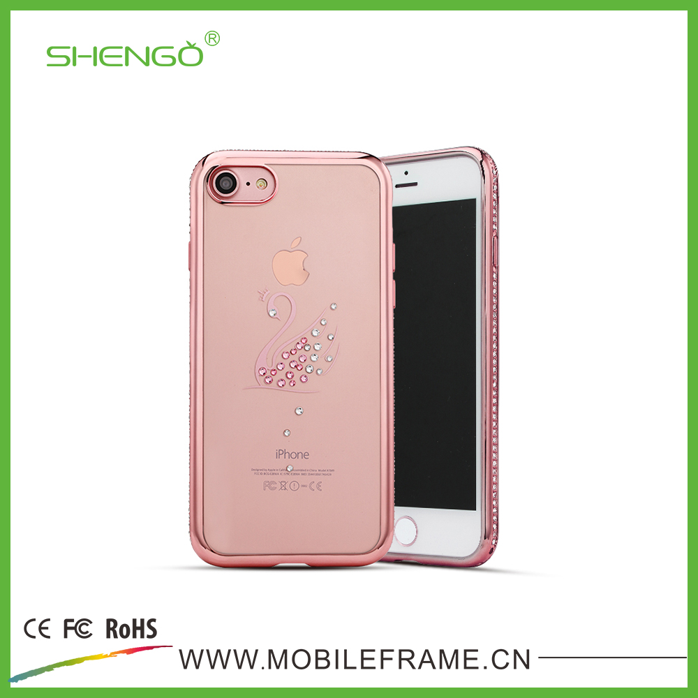 Shengo Wholesale Luxury Diamond Chain Phone Case Electronic Plating Cover TPU Phone Case Sublimation for iPhone 7 Plus