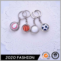 Sport style ball keychain rotate golf basketball football baseball keychain pendant keyring gift for boys