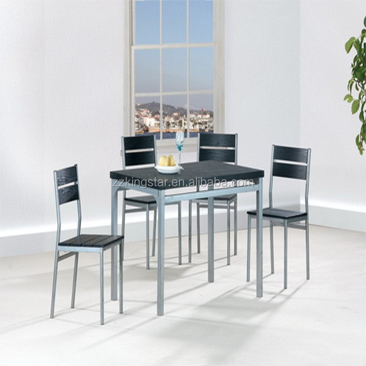 Small furniture Modern Black MDF/PVC top Dining table sets