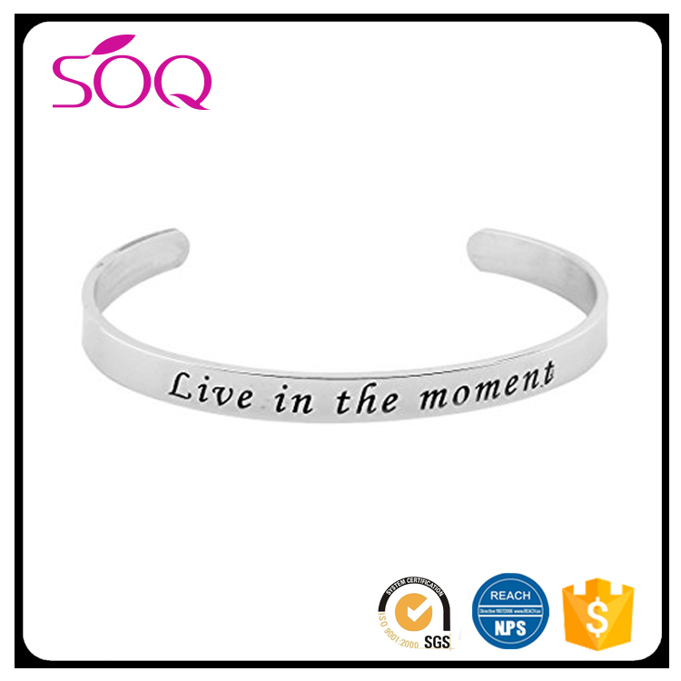 2017 Popular Stainless Steel Engraved Letter Named Bangle bracelet
