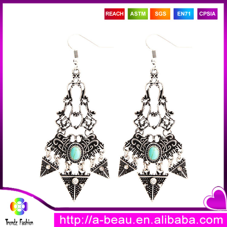 Jewelry Manufacturer China <strong>Alloy</strong> Turquoise Latest Designs of Gold Earrings