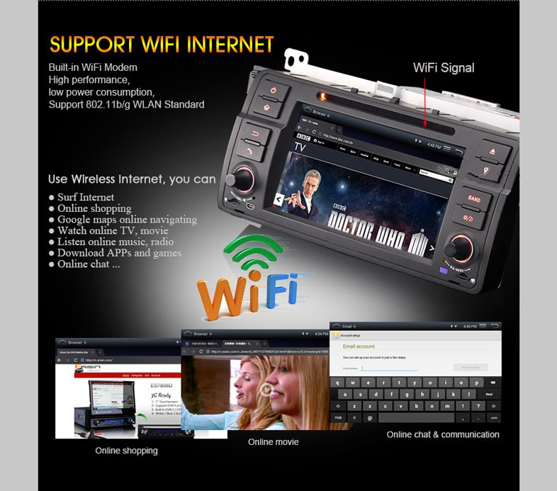 Android4.4 quad-core RK PX3 1.6GHz 7inch 1din special car DVD player for BMW E46/M3 with original BMW UI and WiFi DR7062