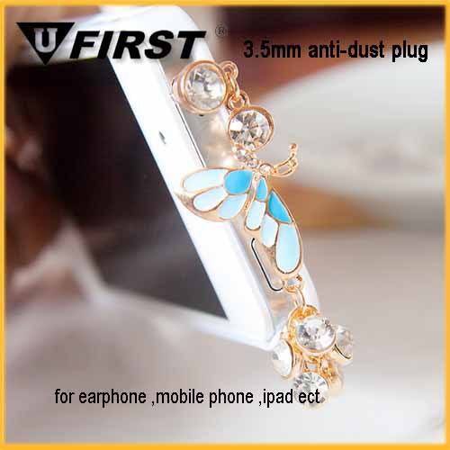2014 hot diamond butterfly knot earphone jack dust cap plug for phone,various designs,OEM service with Chain