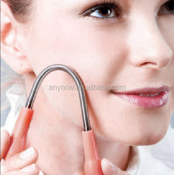 Durable fashion pink plastic handles stainless steel facial hair removal epilator coil spring stick