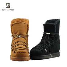 Lace-up Cow suede cheap women winter fur ankle boots outside