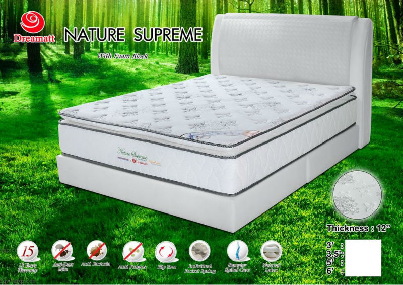 12 inch Pocket Spring Mattress(with Foam Block, Natural Latex) - Malaysia