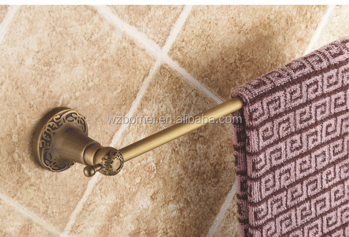 Bathroom brass towel rack bar rail single bar