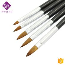 5pcs black handle 2# 4# 6# 8# 10# nail art acrylic brush cheap selling factory