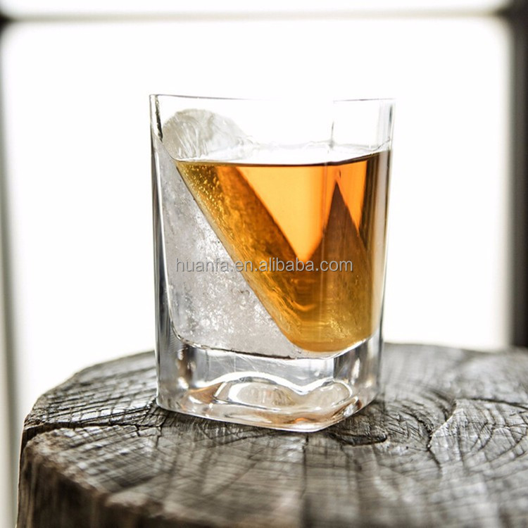 Custom whiskey glass/Square Whiskey wedgeGlass180ml/Rocking Whisky Glasses