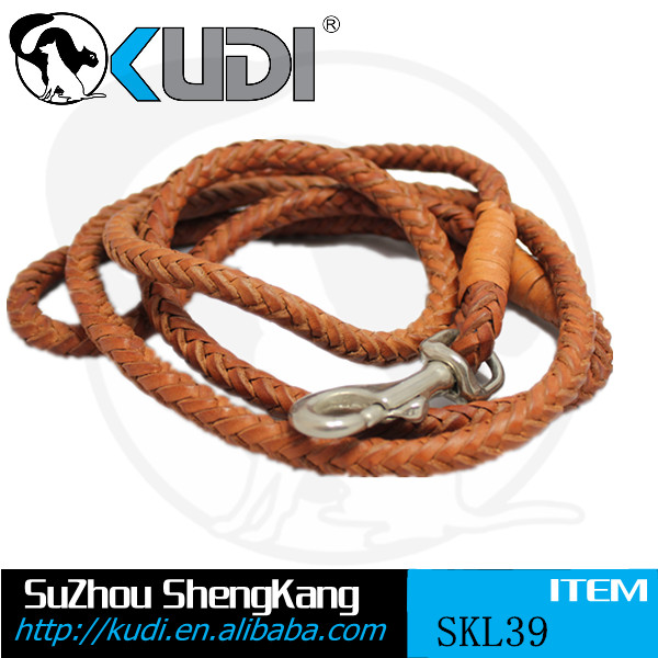Metallic Leather Brown Large Dog Leather Leash SKL39