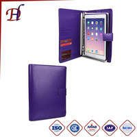 Business Travel Luxury PU Leather Carrying Portfolio Protective Case Cover with Paper Notebook & Card Pocket for Apple iPad