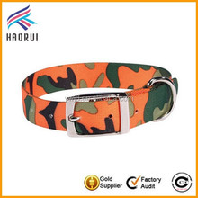 OEM fashion nylon material camouflage dog collar metal buckle pet collar