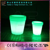 modern design outdoor LED light 16 colors stackable rotational PE color plastic flower pots