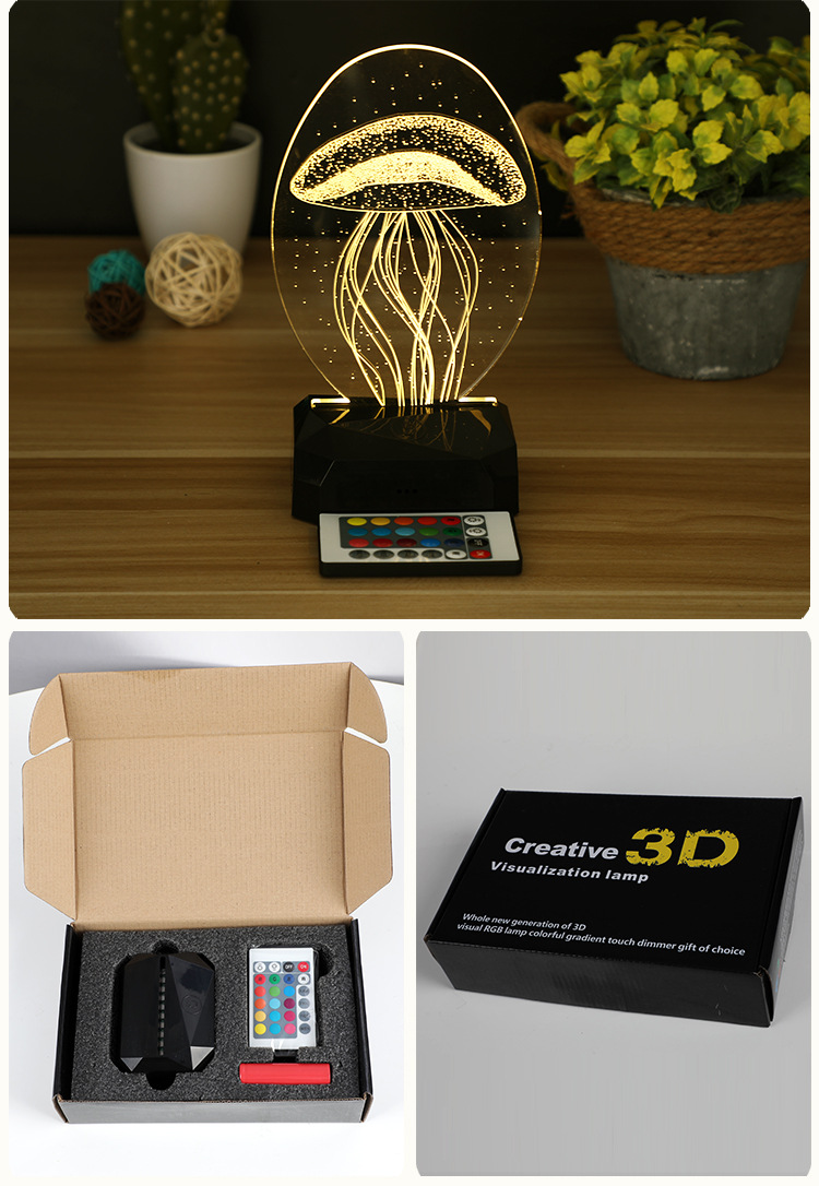 3D USB Table Lamp Remote COntrol ABS Base Led 3D Horse  Night Light