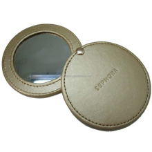 2016 Fashion PU leather small round hand held Makeup Mirror