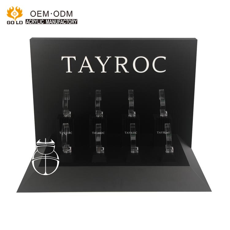 2017 high quality black tabletop acrylic c clip watch display stand