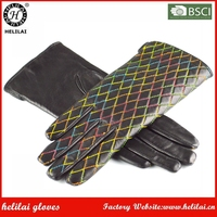 Ladies Rainbow Colorful Stitching Quilted Black Sheep Leather Gloves Winter Warm Dress GLoves