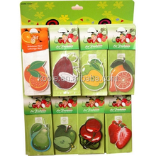 Fruits paper air freshener with plastic hook over hanging cardboard
