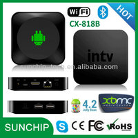 CX-818B Android TV Box Media Player Dual Core Smart Internet 1080p HD Bluetooth&WiFi Streaming Player Running Android 4.2.2 OS
