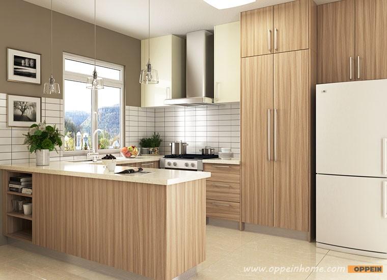 2016 wood grain melamine finish u shape home kitchen for Melamine kitchen designs
