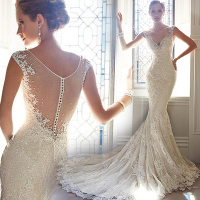 2017 new summer strapped wedding dress from china custom made wedding dress DH-5563
