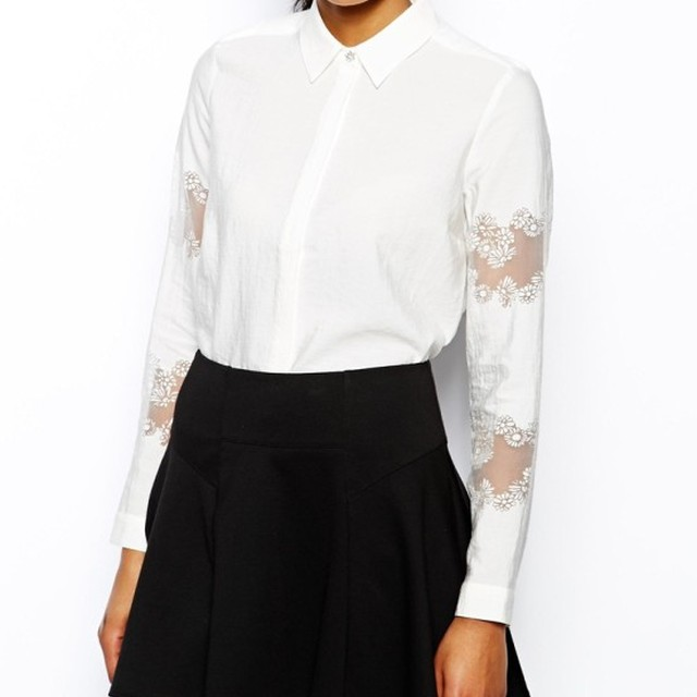 Womens Boxy Shirt With Burnout Sleeve