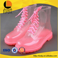 Colorful women transparent waterproof rubber rain shoes boots