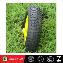 "16"" wheelbarrow pneumatic rubber wheel with metal rim 4.00-8"