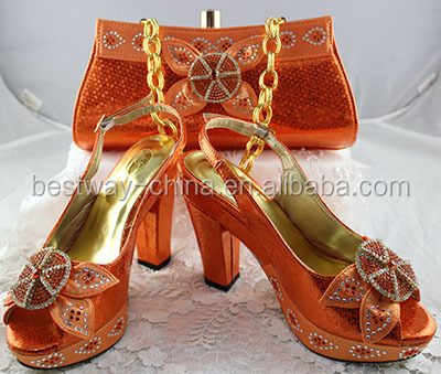 latest design in stock italian shoes with matching bags
