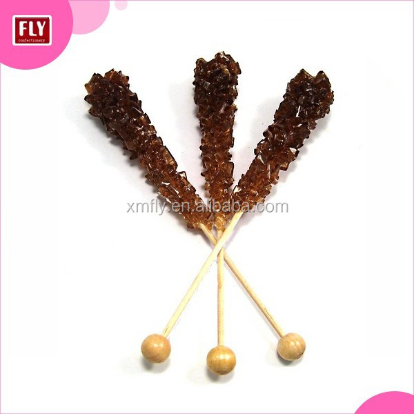 Brown Hard Candy Rock crystal lollipop sticks