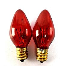 C7 Red Colored Incandescent Bulb 7W Replacement E12 Candelabra Base Lamp Candle Bulb
