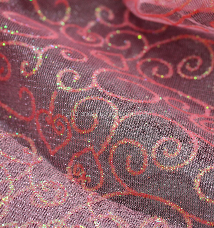 polyester nylon curtain material printed glitter plain cloth mesh fabric