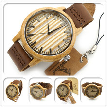 Round wood face wood band bamboo watch Real Natural man wood watches