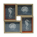 Square Photo Wood Collage Frames with Photo Mat & Real Glass