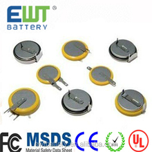 Ewt brand Hot sale rechargeable 3.6v li-ion rechargeable battery LIR2477 With tap/pin PCB Coin Button lir 2477
