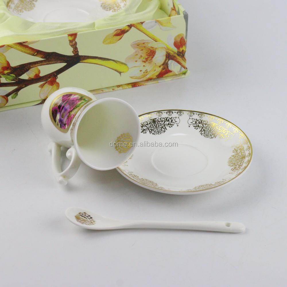 European Style spoon Rose theme Ceramic Coffee Milk Cup And Saucer Set