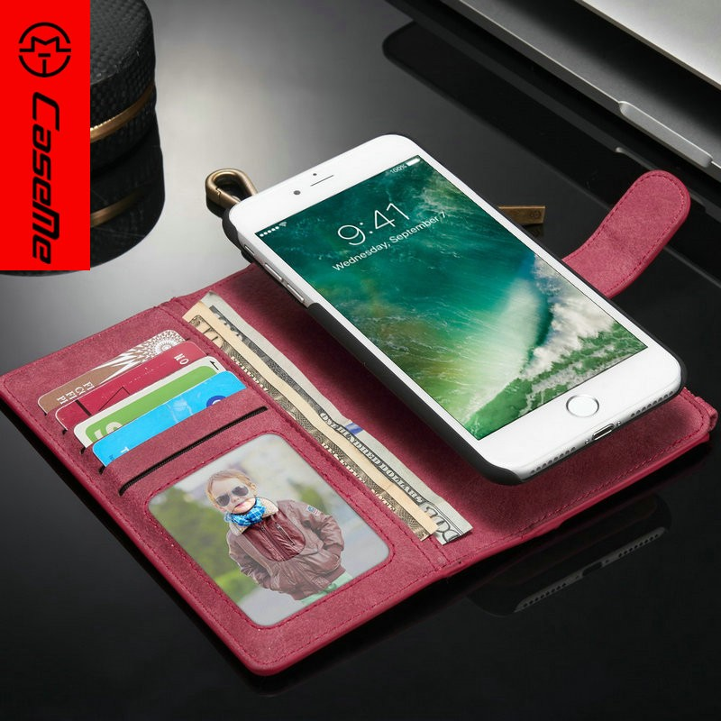 Magnetic Wallet Leather Case for iphone 7plus with TPU Housing