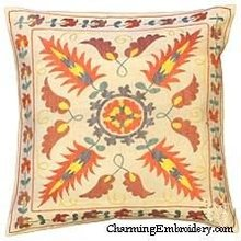 Pillow Cover Suzani Silk Embroidery Handmade