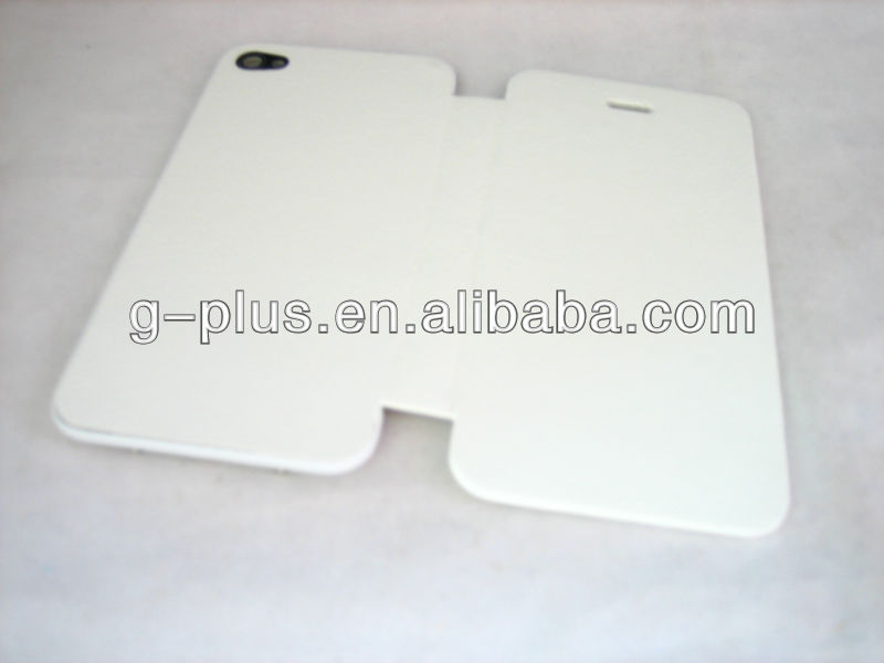 White Leather Flip Cover Carrying Case Pouch for iPhone 4 4G G (for international and US GSM AT&T version)