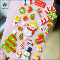 Custom 3D decorative epoxy felt fabrics sticker scrapbook for christmas