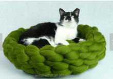 R1844H crochet 100% mernio wool yarn pet bed nest cave wool cat bed cave hand knitted pet bed