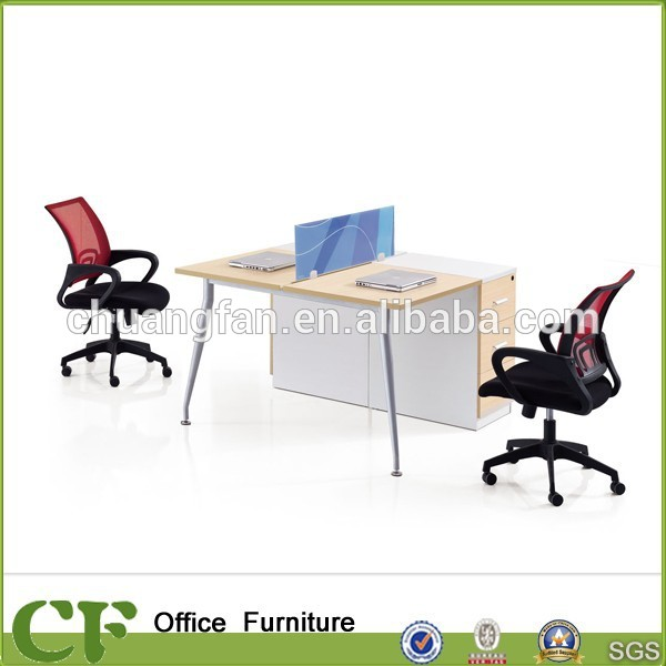 CF 25mm powder coating frame linear type desk employee table with fixed pedestal
