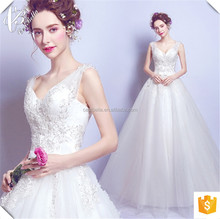 2017 V-Neck Lace Ball Gown Long Formal Wedding Dress White with Long Train