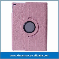 Pink Wholesale 360 Degree Rotate Smart Flip Case for iPad Air 2 Sleep Awaken Function Housing Case for 9.7 Inches Tablet