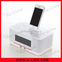 Hot 10W Powerful Sound Touch Dock Station NFC Bluetooth Speaker With Radio Dual USB for Iphone5,5S, Ipod