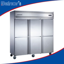 KD1.6L6 / Excellent quality six-doors stainless steel commercial upright refrigerator with wheels