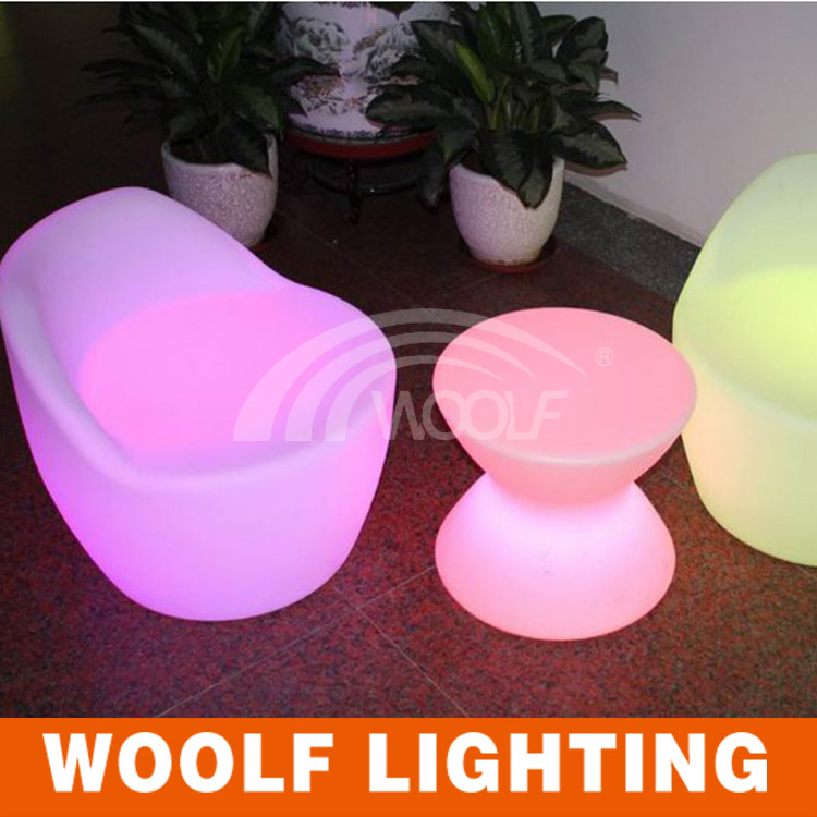 modern life plastic led tea table and chairs set
